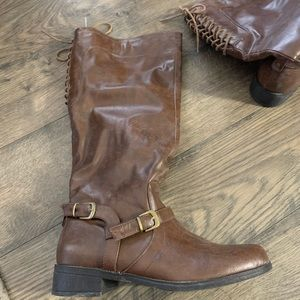 Xoxo brown marygold knee high riding boots
